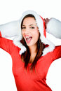 Sales woman christmas isolated on white Stock Photography