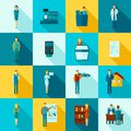 Salesman flat set shop assistant figures long shadow icons isolated vector illustration Royalty Free Stock Photo