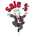 Salesman and sale cartoon of a jumping with Stock Images