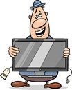 Salesman with television set cartoon illustration of funny or bagman Royalty Free Stock Photo