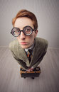 Salesman vintage nerdy old style portrait Stock Photography