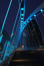 Salford Quays Millennium Bridge at Night Royalty Free Stock Photo