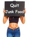 Salga las demostraciones de la muestra de Junk Food que comen bien para la salud Foto de archivo libre de regalías