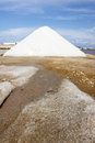 Salina salt hills under blue sky salt sand saline sicily italy Stock Photos