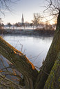 Salisbury cathedral across the water meadows Stock Photography