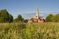 Salisbury cathedral across the water meadows Stock Image