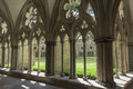 Salisbury Cathedral cloister with courtyard Royalty Free Stock Photo