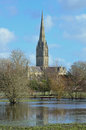 Salisbury cathedral and flooded water meadows photographed from the historic february is an anglican in Stock Photo