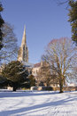 Salisbury cathedral snow after a fall Royalty Free Stock Photography