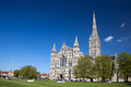 Salisbury cathedral wiltshire england uk early english gothic style with the talest spire in the country europe Royalty Free Stock Photos