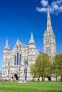 Salisbury cathedral wiltshire england uk early english gothic style with the talest spire in the country europe Royalty Free Stock Images