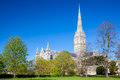 Salisbury cathedral wiltshire england uk early english gothic style with the talest spire in the country europe Stock Images