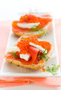 Salmon appetizer with red caviar Stock Images