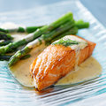 Salmon and asparagus close up Stock Images