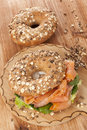 Salmon bagel delicious with smoked traditional amercan healthy eating Stock Photo