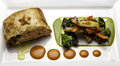 Salmon baked puff pastry shell roasted vegetables Royalty Free Stock Photo