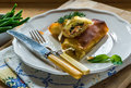Salmon and basil butter filo parcels