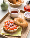 Salmon burger on the wooden tray Royalty Free Stock Photos