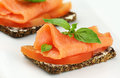 Salmon canape Stock Images