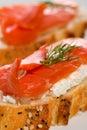 Salmon cheese canape Stock Photos