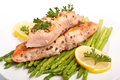 Salmon with Coriander Seeds and Asparagus Royalty Free Stock Image