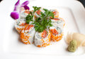 Salmon cucumber maki roll sushi plate Royalty Free Stock Photos