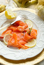 Salmon on dish Stock Images
