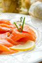 Salmon on dish Stock Image