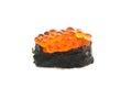 Salmon egg on sushi nigiri roll Stock Image