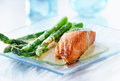 Salmon fillet with asapargus Royalty Free Stock Photography