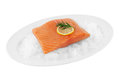 Salmon fillet clipping path with lemon slice and dill on ice in front of white background Royalty Free Stock Image