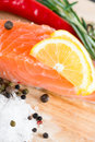Salmon fillet with lemon rosemary and Stock Image