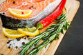 Salmon fillet with lemon rosemary and Stock Photo