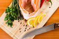 Salmon fillet with rosemary and lemon Royalty Free Stock Photos