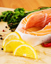 Salmon fillet with rosemary and lemon Stock Image