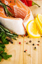 Salmon fillet with rosemary and lemon Stock Images