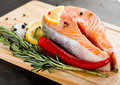 Salmon fillet with rosemary and pepper lemon Stock Image