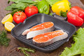 Salmon fillet with the vegetables Stock Photography