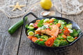 Salmon fillet on vegetables fried mixed colorful served in a frying pan a lemon and a fishing net with a starfish and seashells in Stock Images