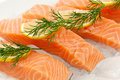 Salmon fillets close up of with lemon slice and dill on ice Royalty Free Stock Images