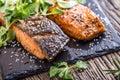 Salmon fillets. Grilled salmon, sesame seeds herb decorationon on vintage pan or black slate board.