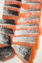 Salmon fillets for sale at a fish market Royalty Free Stock Photo