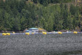 Salmon fish farm british columbia kust Arkivfoton