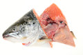 Salmon fish head ready for cooking Royalty Free Stock Image