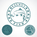 Salmon fish stamp vector illustration of Royalty Free Stock Images