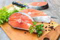 Salmon fish steaks Royalty Free Stock Image