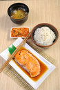 Salmon grill set and rice Stock Images