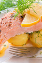 Salmon grilled with dill and boiled potato Stock Photography