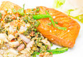 Salmon with herb steak hot and spicy Royalty Free Stock Image