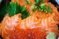 Salmon with ikura s egg japanese style Royalty Free Stock Image